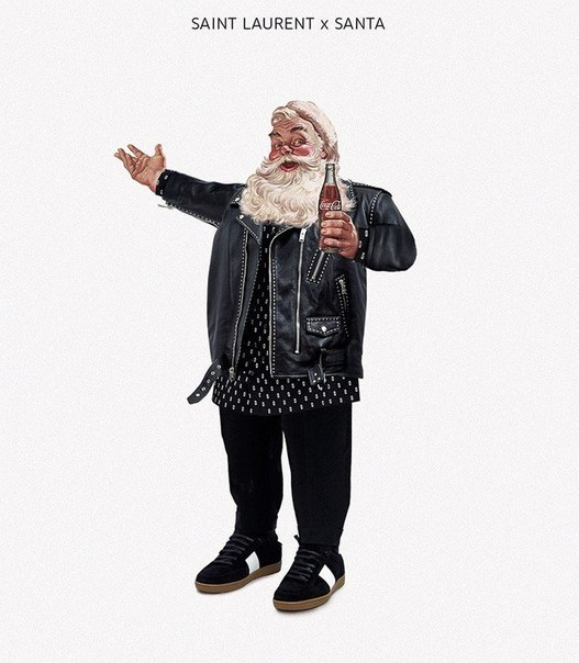 Санта в модной одежде