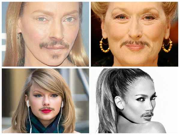 Если бы голливудские актрисы носили усы