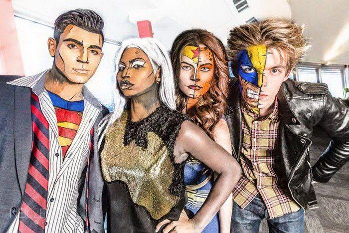 Превращение в героев комиксов при помощи грима