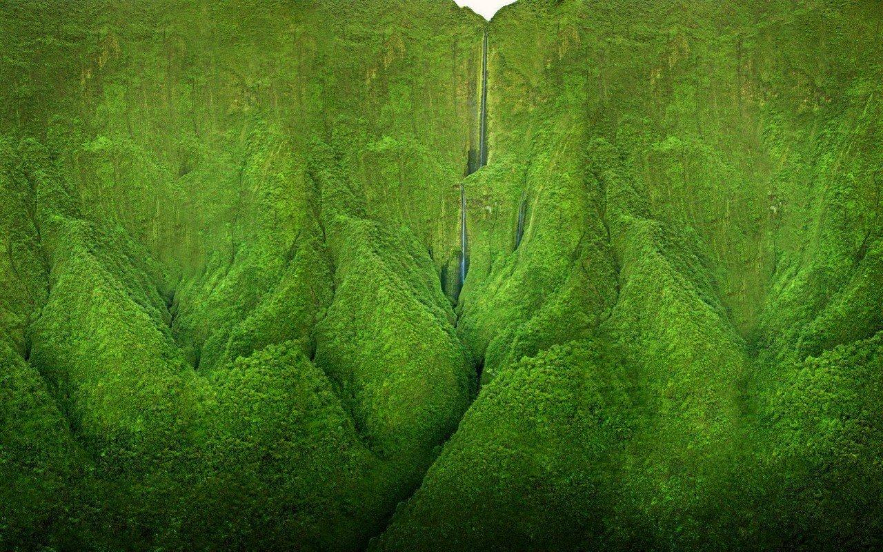 Водопад Хонокохау из Парка Юрского Периода