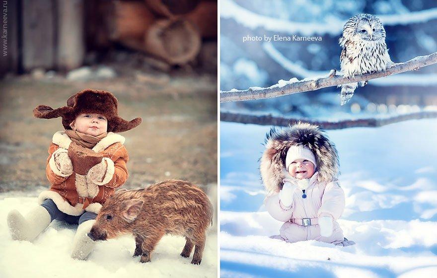 Дети и животные на фотографиях Елены Карнеевой