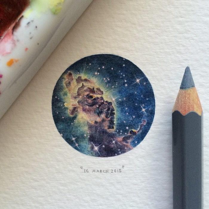 Миниатюрные рисунки космоса, нарисованные с помощью акварели