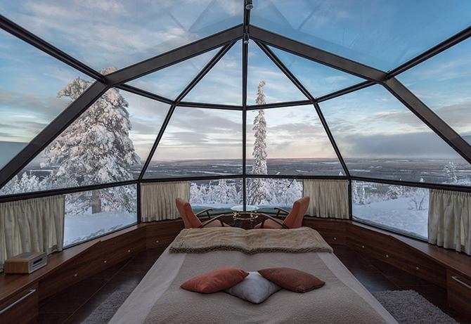 Стеклянные иглу — отель в Лапландии