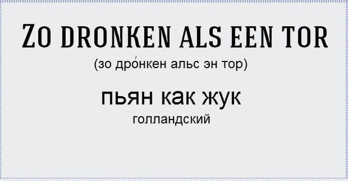 Крайняя степень опьянения в различных языках мира