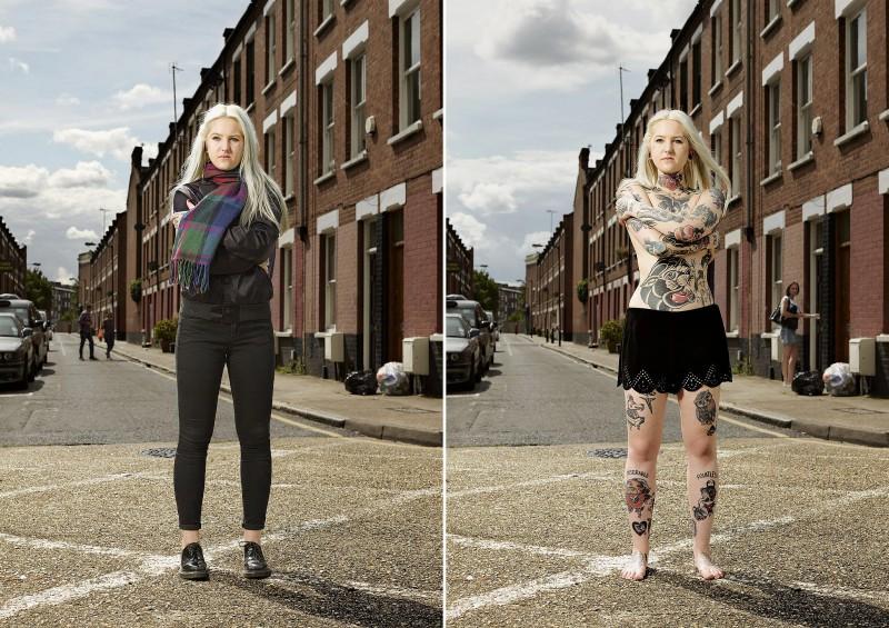 Любители татуировок из Англии в одежде и без