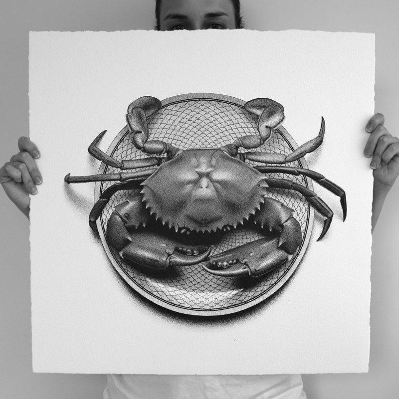 Черно-белые картины еды ручкой от Си Джей Хендри
