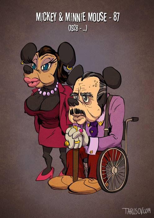 Герои диснеевских мультфильмов в старости