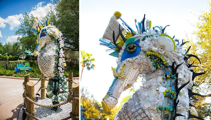 Скульптуры морских обитателей из пластикового мусора с берегов