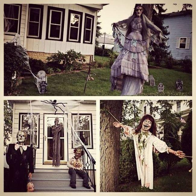 Жуткие декорации на Хэллоуин для дома и улицы