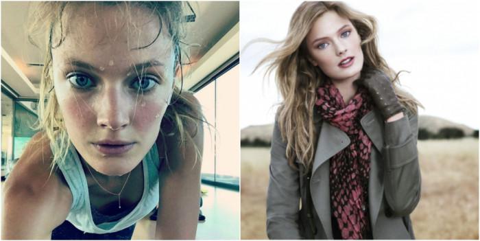 Снимки моделей Victoria's Secret с макияжем и без
