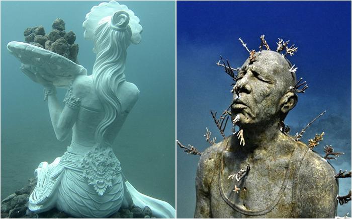 Скульптуры и статуи в подводном царстве