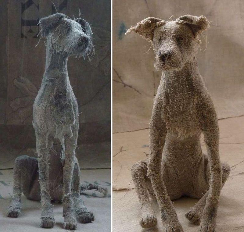 Грустные собаки из старых тряпок