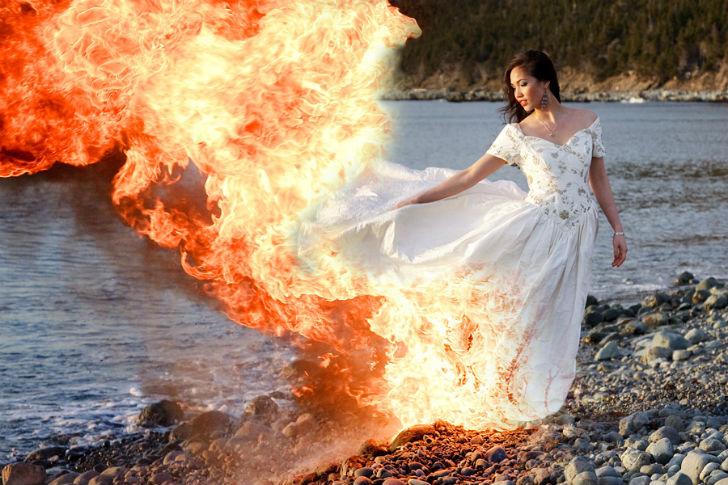 Необычный тренд в свадебной фотографии — Платье в хлам