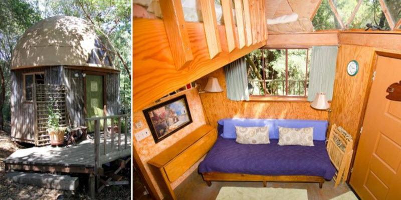 Внутри деревянного домика-гриба, сдаваемого в аренду на Airbnb