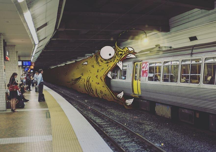 Немного мультяшных монстров на повседневных фотографиях