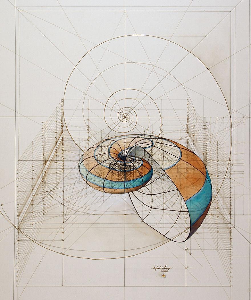 Раскраска с золотыми пропорциями от Рафаэля Араухо