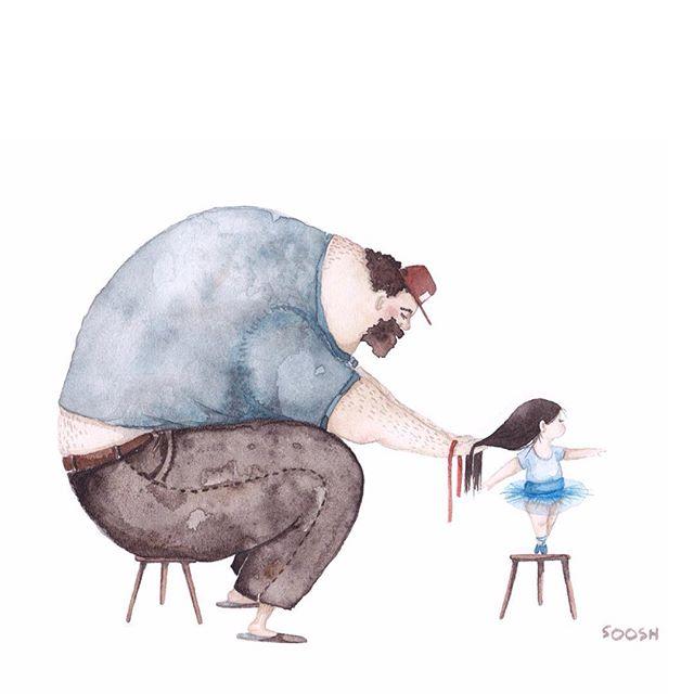 Трогательные рисунки о любви пап к своим маленьким дочкам