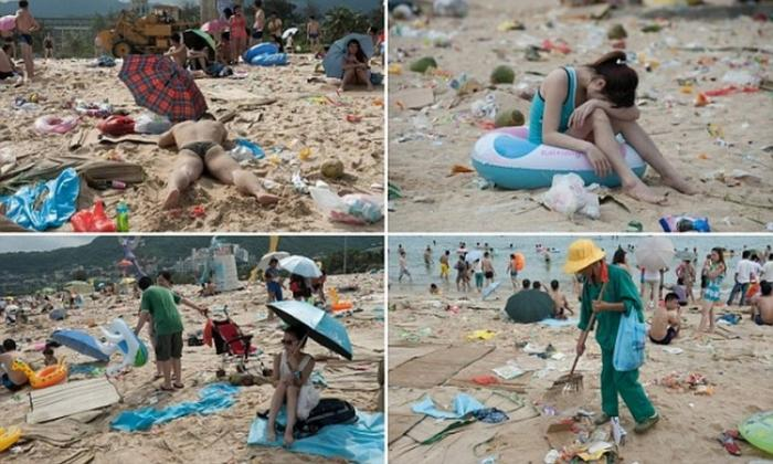 Китайский пляж после праздника лодок-драконов