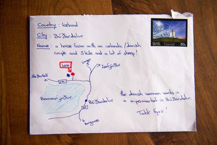 Отчаянный исландец отправил письмо с картой вместо адреса на конверте