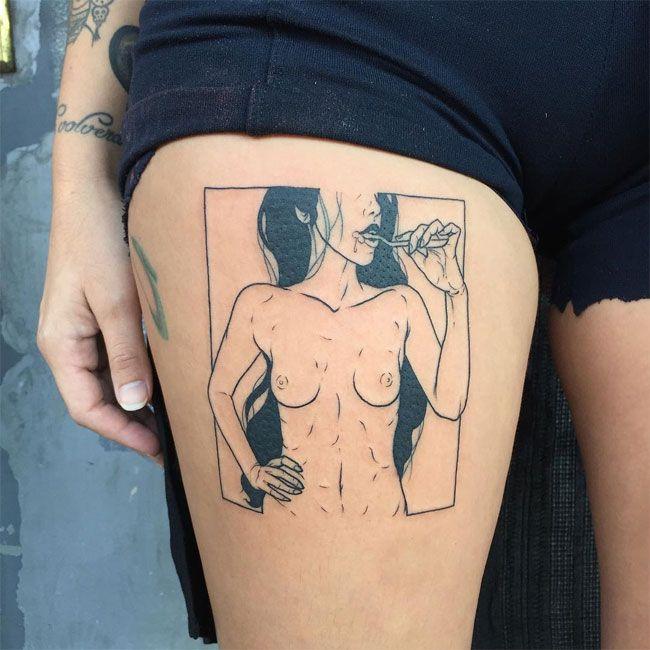 Эротические минималистичные татуировки от Печального Амиша