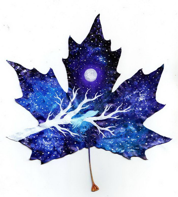 Рисунки на опавших листьях от Nancy Woland и Beka Zaridze