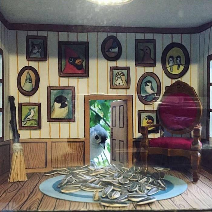 Художница Джада Фитч создает скворечники с интерьерами