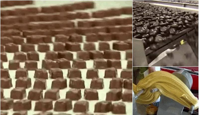 Увлекательные гифки с производства сладостей