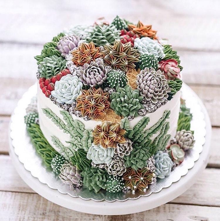 Удивительные торты и пирожные, украшенные кактусами и суккулентами