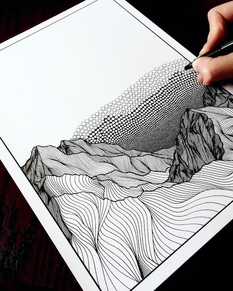 Горные пейзажи, изображённые точками и линиями
