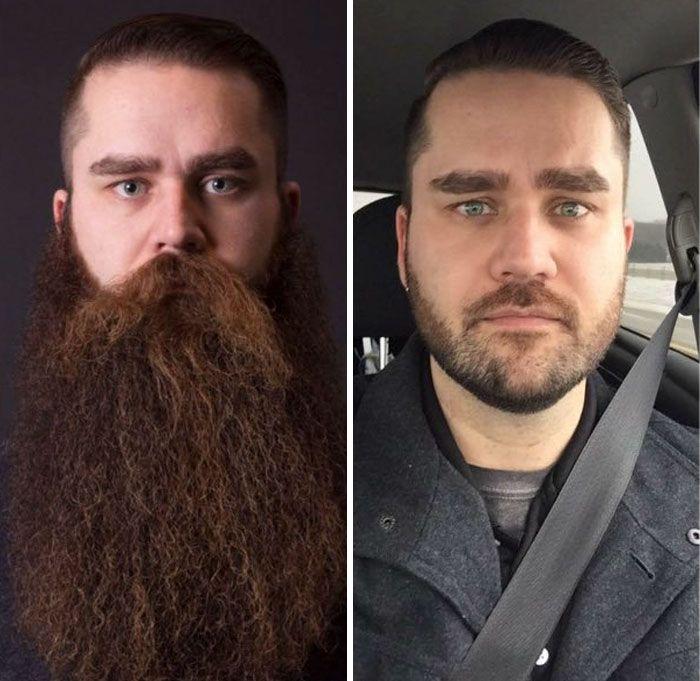 Мужчины сбривают бороду: до и после