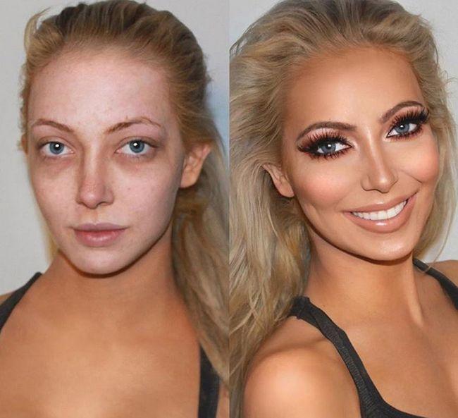 Перевоплощения с помощью макияжа: до и после