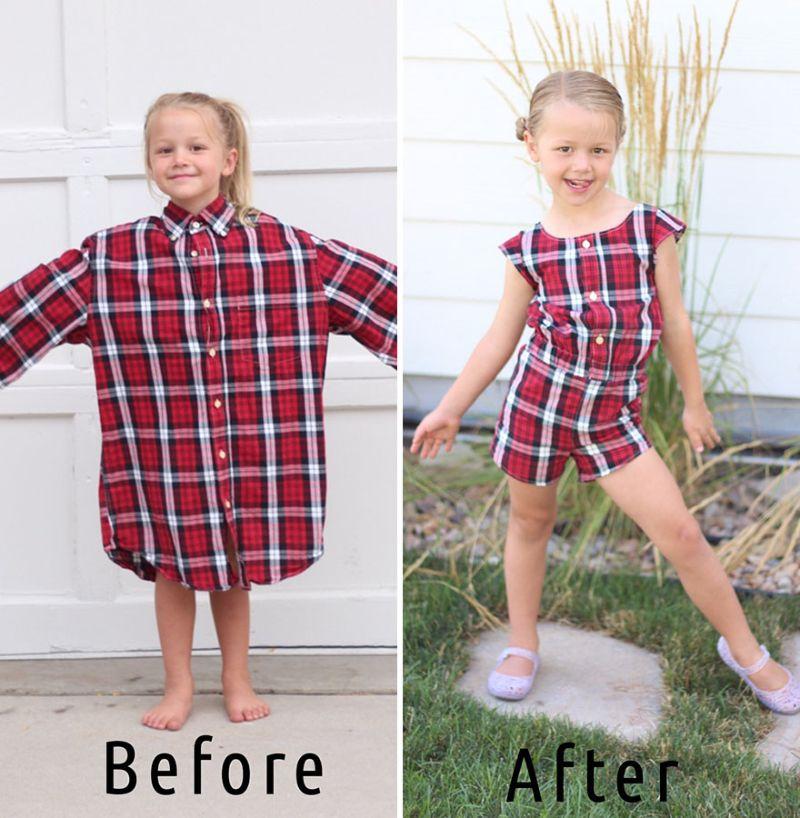 Мама мастерит отличные наряды для дочерей из старых папиных рубашек
