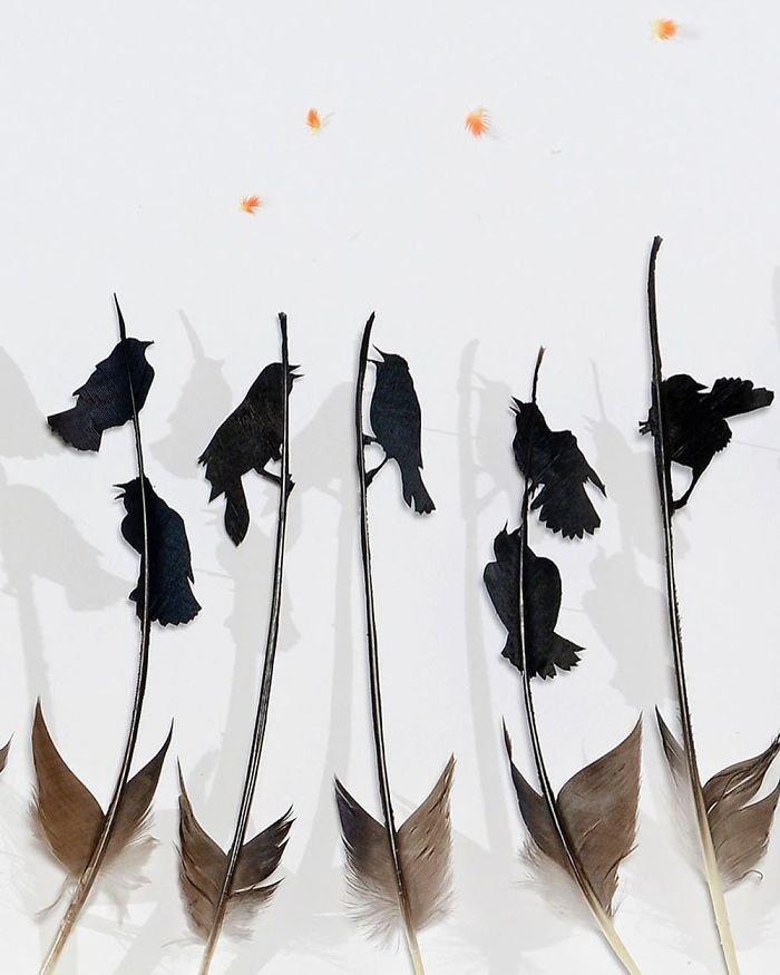 Произведения искусства из птичьих перьев