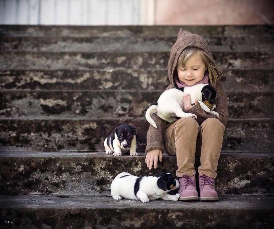 Дети и животные играют вместе