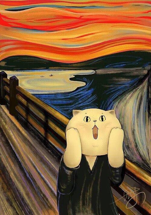 Милые котики на картинах классических художников