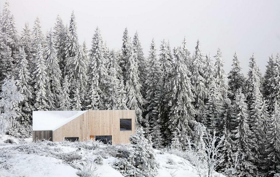 Небольшой деревянный домик в лесу возле Осло