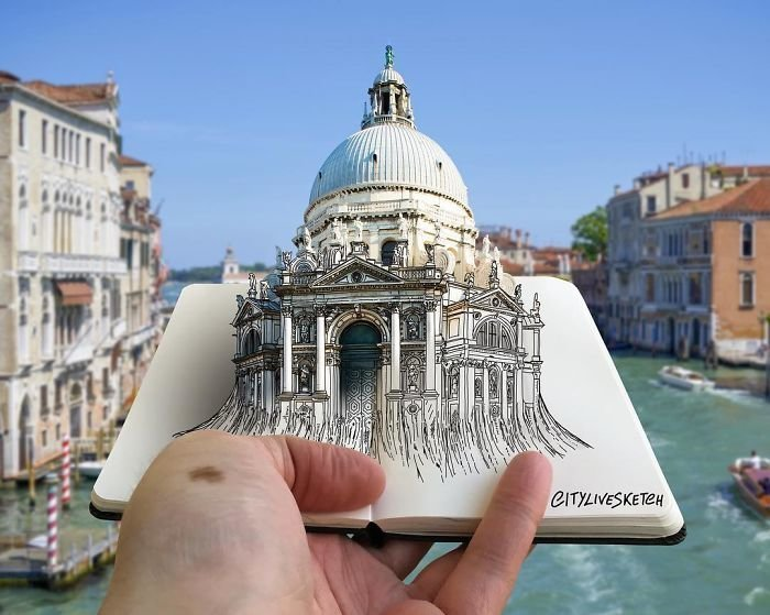 Итальянский художник совмещает рисунки и реальность