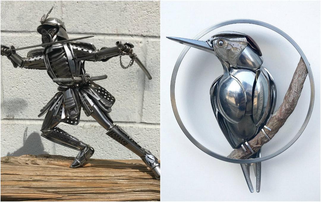 Удивительные скульптуры животных из старых столовых приборов