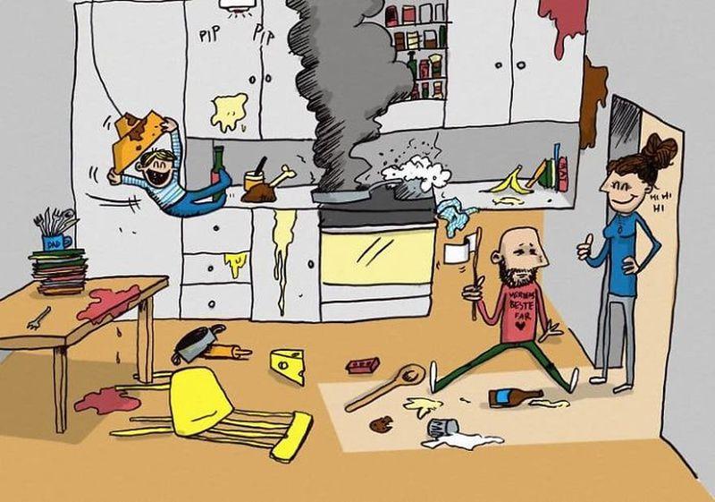 Отец двоих детей нарисовал комиксы о своей жизни