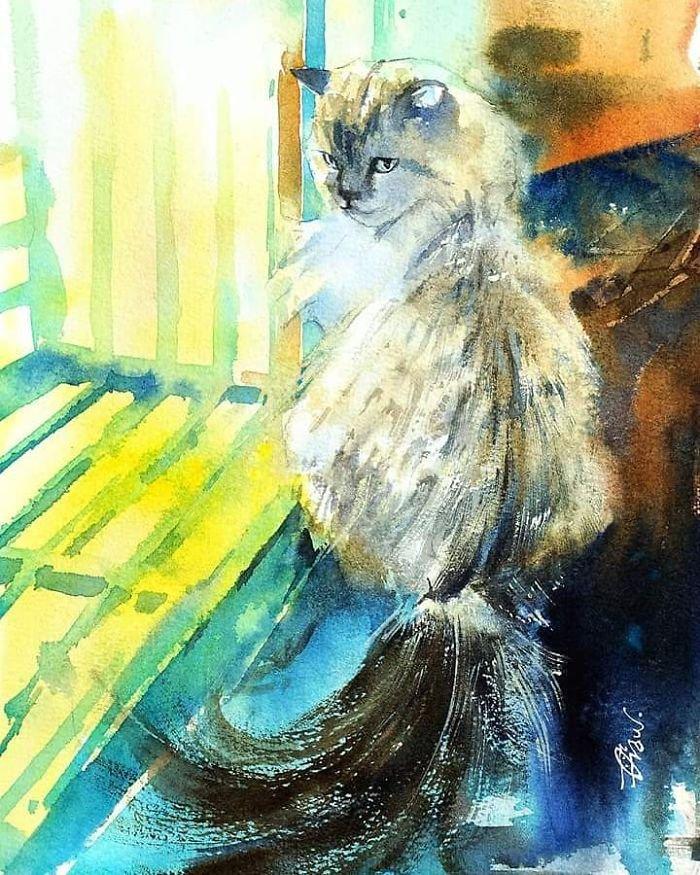 Жизнь кошек в акварельных рисунках