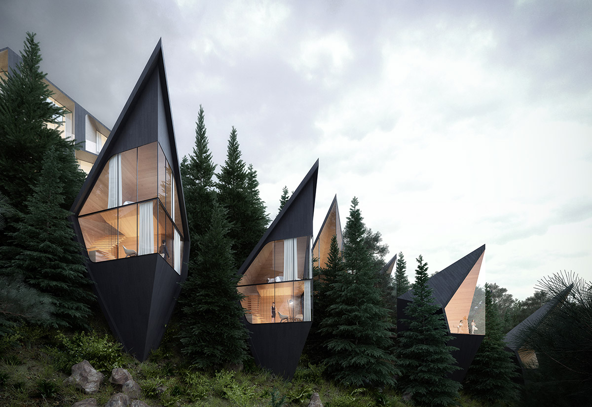 Футуристические домики на деревьях в лесу Доломитовых Альп