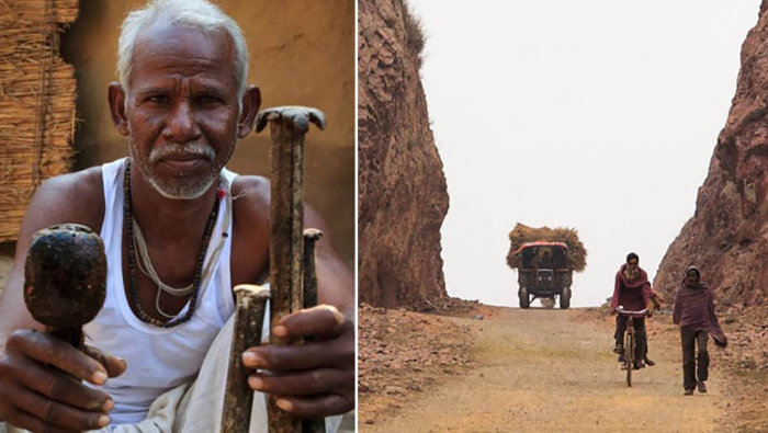 Индийский крестьянин за 22 года в одиночку пробил в горе тоннель длинной 110 метров