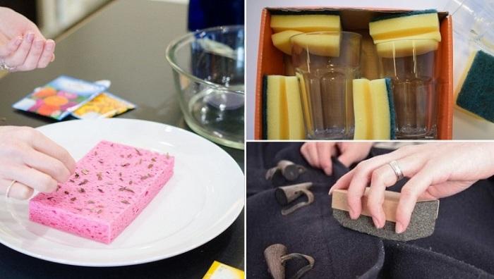 Способы использования губки для посуды в быту