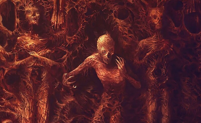 Художник-металлист рисует хоррор картины