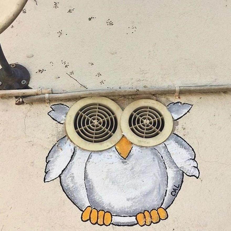 Забавные уличные рисунки на улицах Лиона от художника CAL