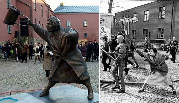 История памятника «Женщина с сумкой» в Швеции