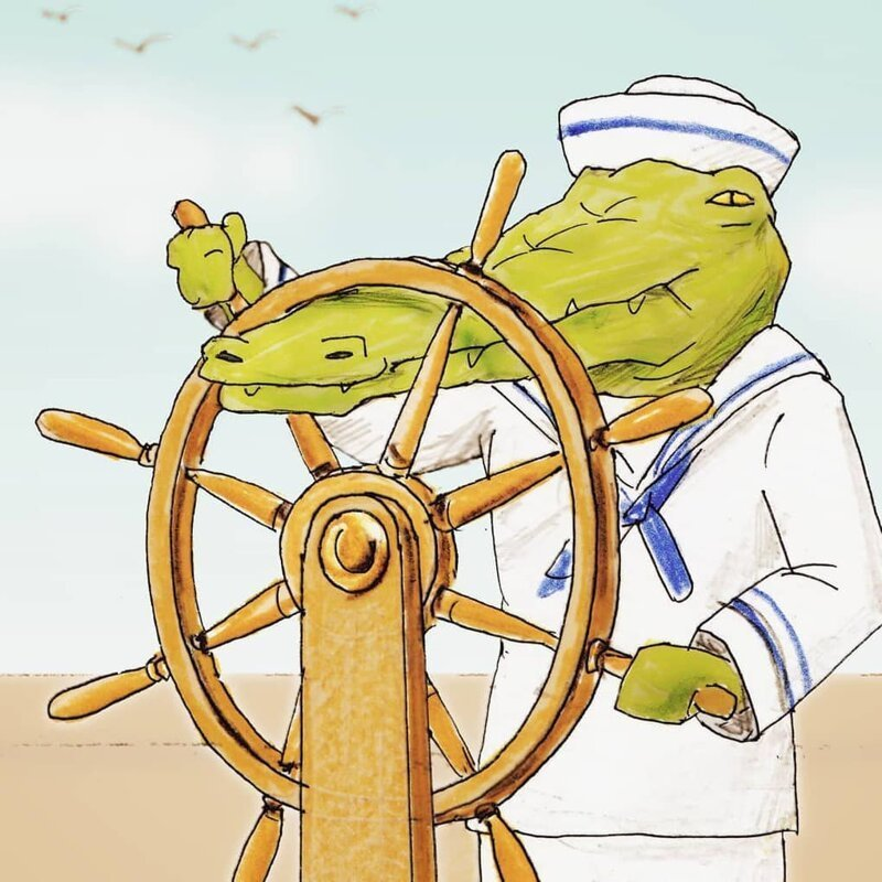 Забавные иллюстрации о жизнь крокодилов в человеческом мире