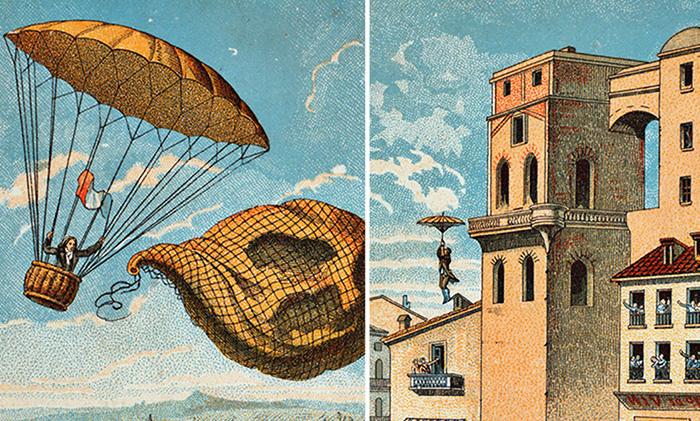 История изобретения парашюта и первого удачного прыжка