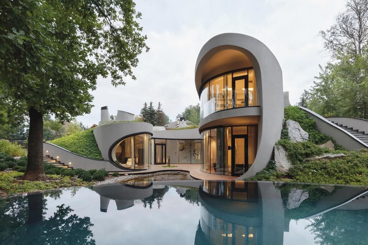 Необычный дом в ландшафте в Московской области