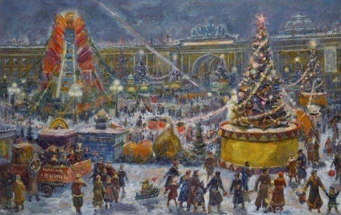 Новый год на картинах и открытках СССР